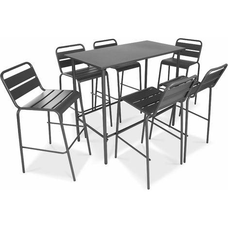 Table haute de jardin en métal gris et 6 tabourets - Gris