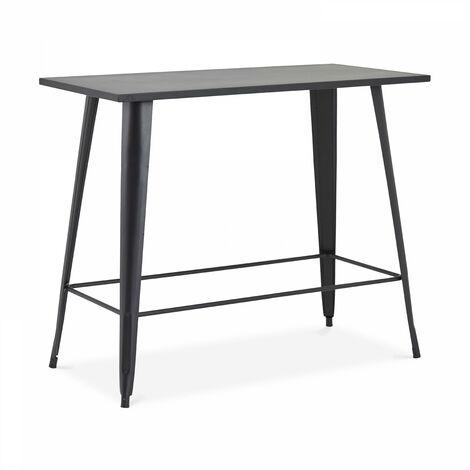 Table haute de jardin en métal noir mat New York - Noir
