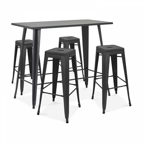 Table haute de jardin et 4 tabourets en métal noir mat New York - Noir