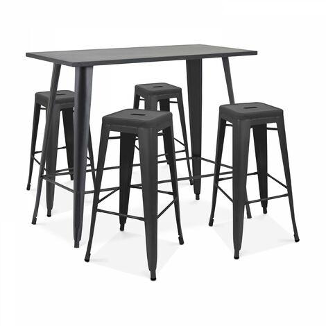 Table haute de jardin et 4 tabourets en métal noir mat New York - Noir - Noir