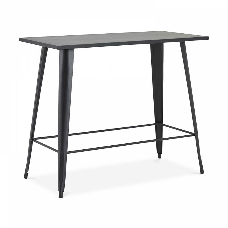 Table haute de jardin et 4 tabourets en métal noir mat - Noir