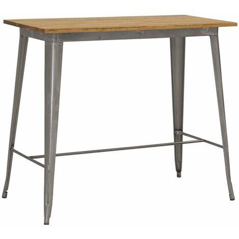 Table haute en métal laqué et bois d'orme huilé Acier brossé - Acier brossé