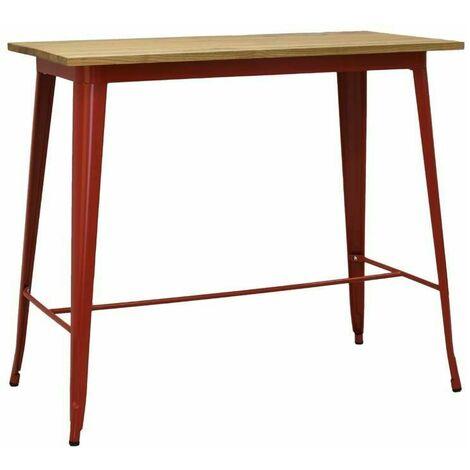 Table haute en métal laqué et bois d'orme huilé Rouge - Rouge