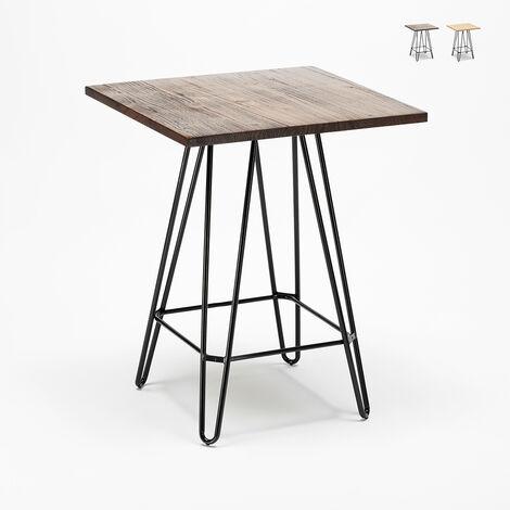 Table haute industrielle pour tabourets 60x60 métal acier bois Bolt