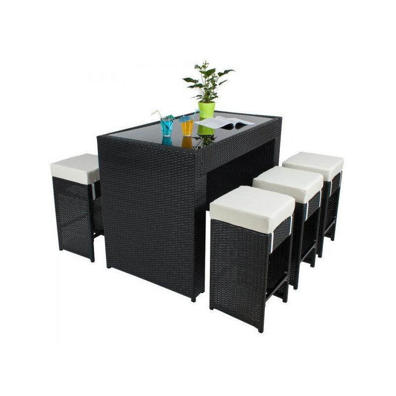 Helloshop26 - Table haute salon de jardin rotin résine tressé synthétique + 6 tabourets rotin noir - Noir