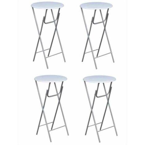 Table haute mange debout bar bistrot 4 pièces avec dessus de table en mdf blanc - Blanc