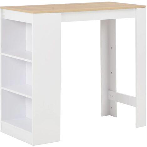 Table haute mange debout bar bistrot avec étagère blanc 110 cm - Blanc