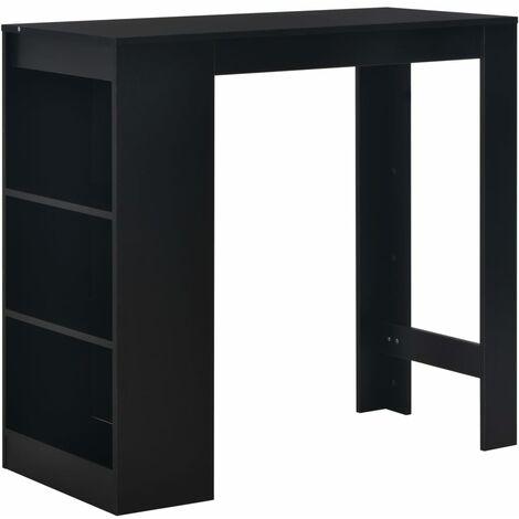 Table haute mange debout bar bistrot avec étagère noir 110 cm - Noir