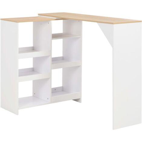 Table haute mange debout bar bistrot avec tablette amovible blanc 138 cm - Blanc
