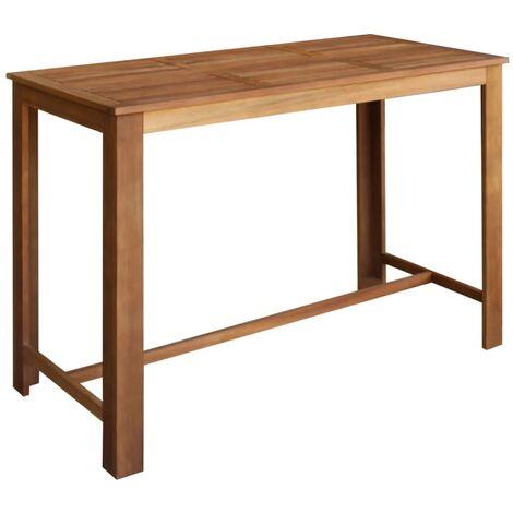 Table haute mange debout bar bistrot bois d'acacia solide 150 cm - Noir