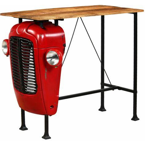 Table haute mange debout bar bistrot bois de manguier 120 cm rouge tracteur - Bois