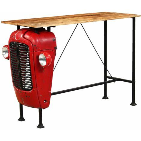 Table haute mange debout bar bistrot bois de manguier 150 cm rouge tracteur - Bois
