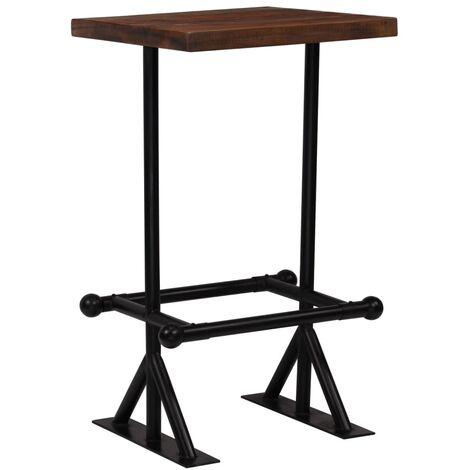Table haute mange debout bar bistrot bois de récupération massif marron 107 cm - Bois