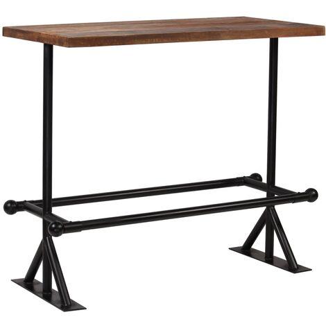 Table haute mange debout bar bistrot bois de récupération massif marron 120 cm - Bois