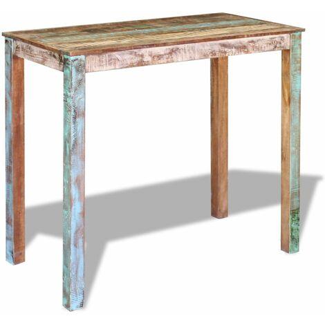 Table haute mange debout bar bistrot bois massif de récupération 115 cm - Bois