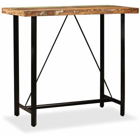 Table haute mange debout bar bistrot bois massif de récupération 120 cm - Bois