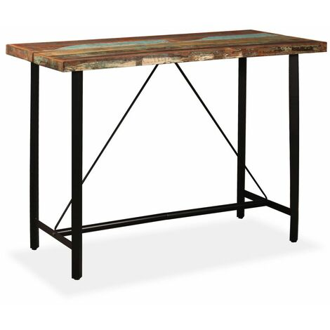 Table haute mange debout bar bistrot bois massif de récupération 150 cm - Noir