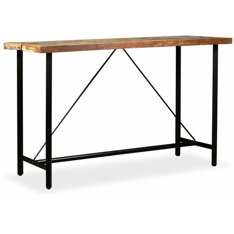 Table haute mange debout bar bistrot bois massif de récupération 180 cm - Noir