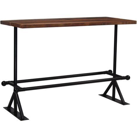 Table haute mange debout bar bistrot bois massif de récupération marron 150 cm - Bois