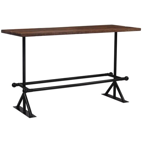 Table haute mange debout bar bistrot bois massif de récupération marron 180 cm - Bois