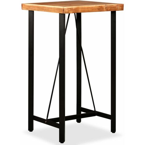 Table haute mange debout bar bistrot bois massif de sesham 107 cm - Bois
