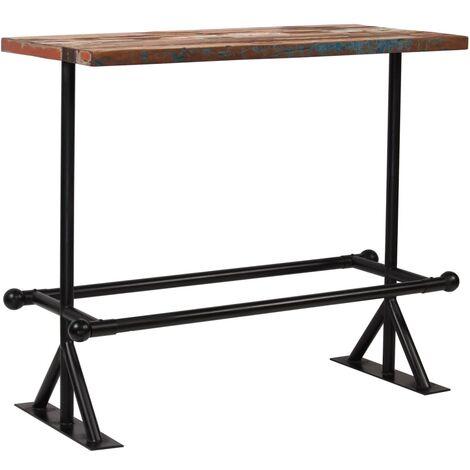 Table haute mange debout bar bistrot bois massif recyclé multicolore 120 cm - Bois