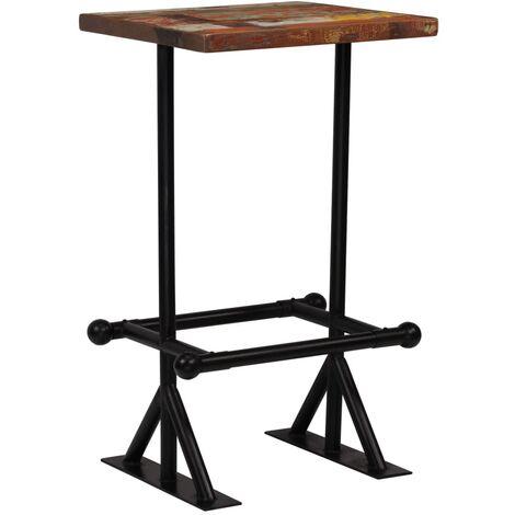 Table haute mange debout bar bistrot bois récupération massif multicolore 107 cm - Bois