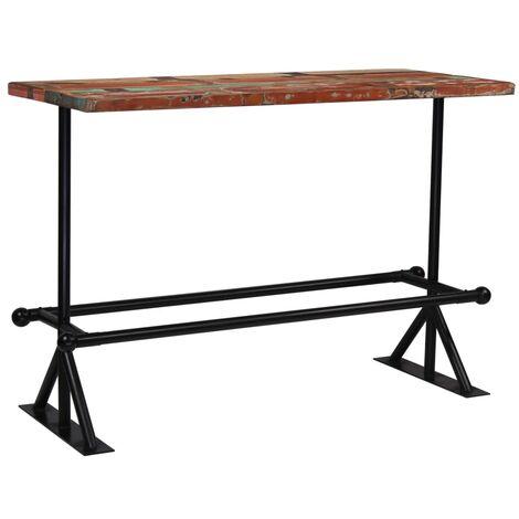 Table haute mange debout bar bistrot bois récupération massif multicolore 150cm - Bois