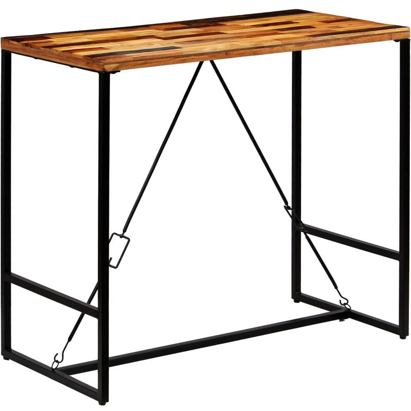Table Haute Mange Debout Bar Bistrot Bois Recycle Solide 120 Cm