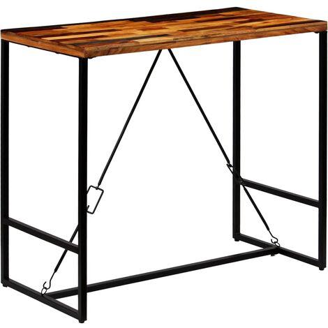 Table haute mange debout bar bistrot bois recyclé solide 120 cm - Bois