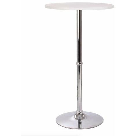 Table haute mange debout bar bistrot MDF diamètre 60 cm blanche - Blanc