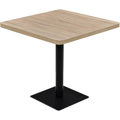 Table haute mange debout bar bistrot MDF et acier carré 80 x 80 cm chêne beige - Beige