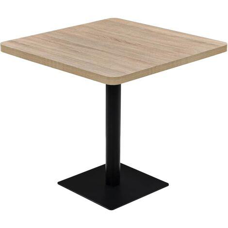 Table haute mange debout bar bistrot MDF et acier carré 80 x 80 cm chêne - Noir