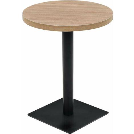 Table haute mange debout bar bistrot MDF et acier rond 60 cm chêne beige - Beige