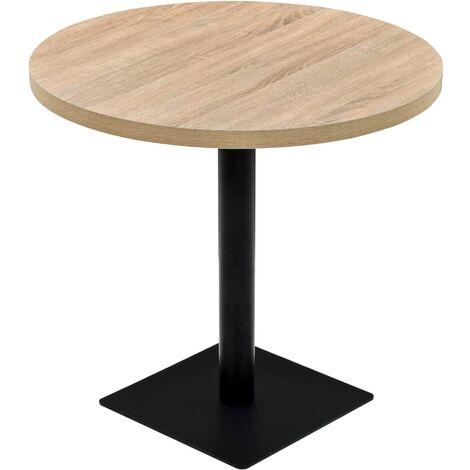 Table haute mange debout bar bistrot MDF et acier rond 80 cm couleur de chêne - Noir