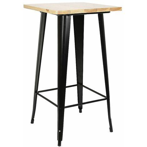 Table haute mange debout bar bistrot noir 103 cm pinède et acier - Noir
