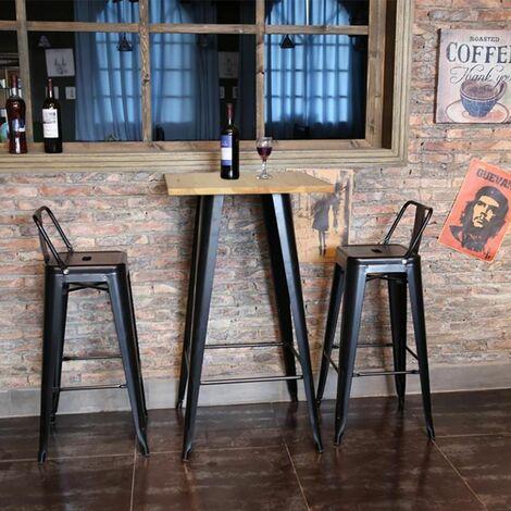 Table haute mange debout bar bistrot noir 103 cm pinède et acier - Noir - Couleur du bois naturel