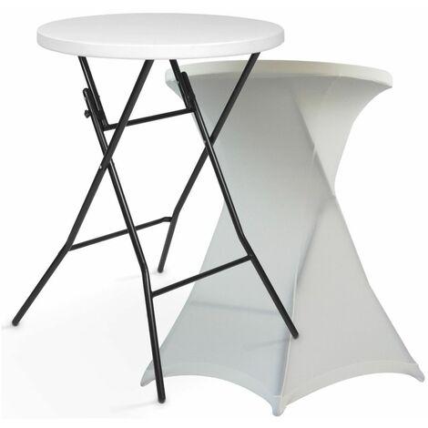 Table haute mange debout + housse écrue