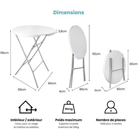 Table Haute Mange Debout Pliante Grand Plateau 80 cm - Hauteur 1,10M - Table Pliante Mange Debout Grande Capacité idéal pour Cérémonies et Mariages - Blanc