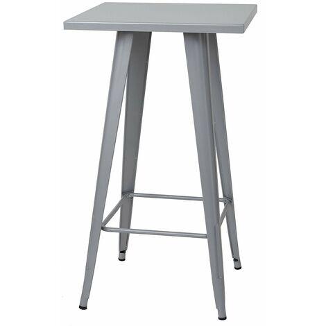 Table haute mange debout style industriel en métal gris - gris