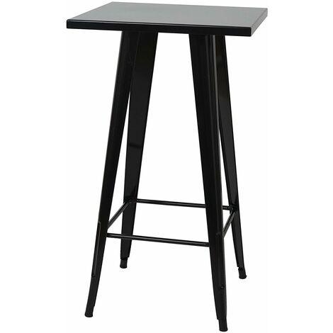 Table haute mange debout style industriel en métal noir - noir