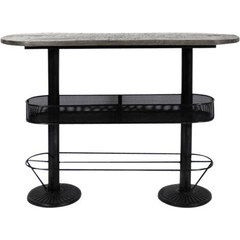 Table haute ovale bois métal patine grise avec rangement - Bois