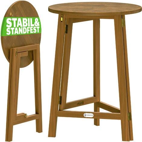 Table haute pliable en bois massif naturel 110cm hauteur Ø 78 cm bar fête bistrot jardin évènements anniversaire