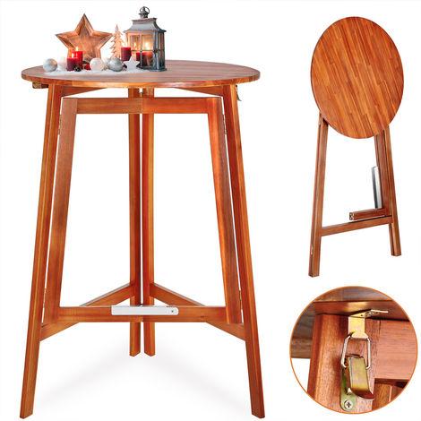 Table haute pliable en bois massif naturel 110cm hauteur Ø 78 cm bar ...