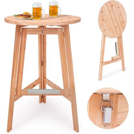 Table haute pliable en bois massif naturel - Mange debout • Pliante ...