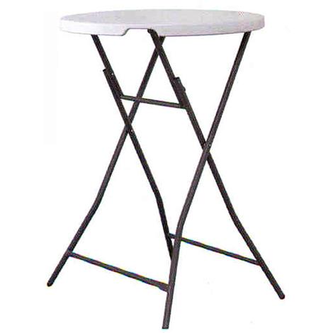 Haute 110 Polypropylène 80cm En Pliante Blanc Avec Plateau Rond Ø Coloris Table DimH X wN08nPOkX