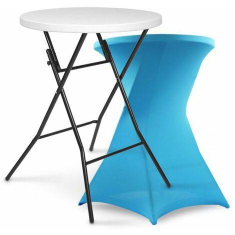 Table haute pliante et housse bleue - 103693