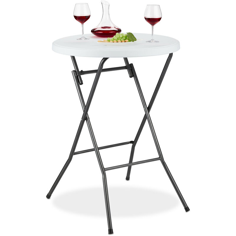 de 80 en Bistrot pluiePieds x HLP MétalBlanc Table Pliante 80 haute cmPlastiqueAnti RondeTable x 110 CxerdoB