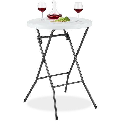 Table haute Pliante Ronde, Table de Bistrot HLP 110 x 80 x 80 cm, Plastique, Anti-pluie, Pieds en Métal, Blanc
