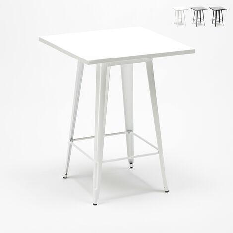 Table haute pour tabourets Tolix acier et métal industriel 60x60 Nut
